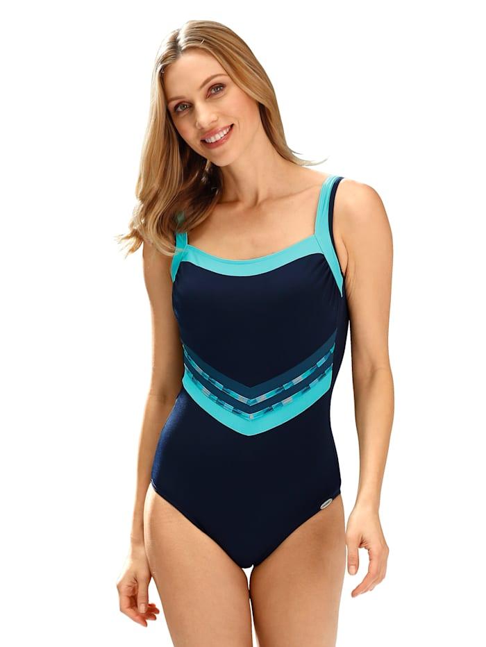 Sunflair Badeanzug mit geradem Ausschnitt, Blau/Türkis