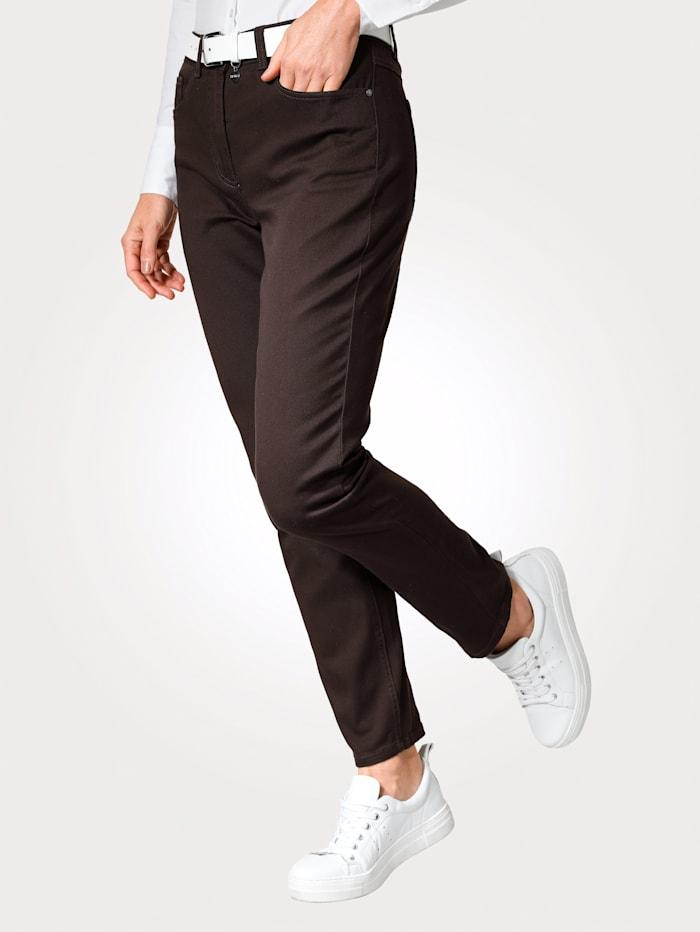 MONA Pantalon avec ceinture partiellement extensible en grandes tailles, Marron