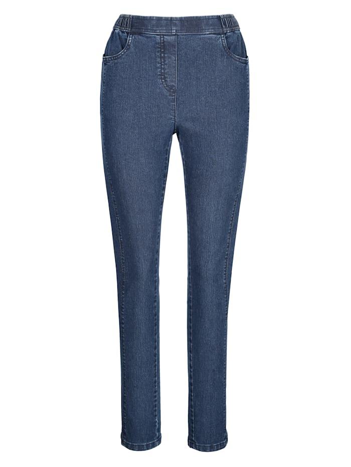 Džínsy vpredu s predlžujúcim pozdĺžnym šitím