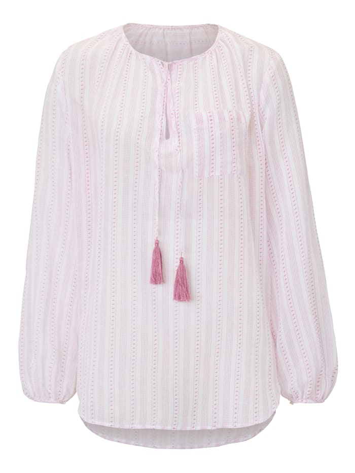 Mellow Peach Tunika im Wäsche-Look, Rosé