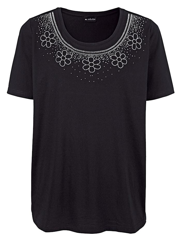 m. collection T-shirt à somptueux éléments fantaisie à l'encolure, Noir