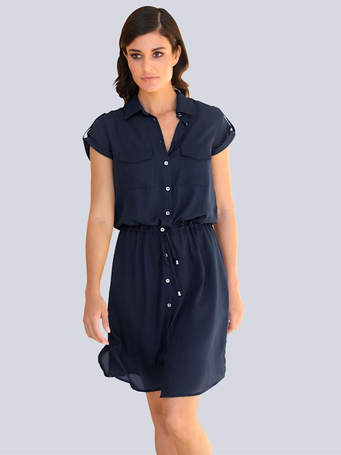 Alba Moda Kleid in leicht fallender Chiffonqualität, Marineblau