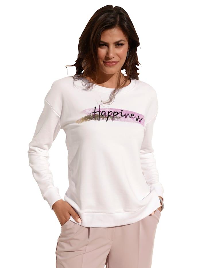 AMY VERMONT Sweatshirt mit Schriftzug im Vorderteil, Off-white
