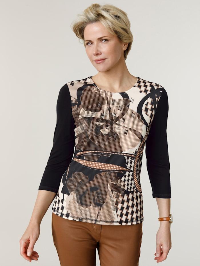 Barbara Lebek Shirt van een materialenmix, Zwart/Cognac