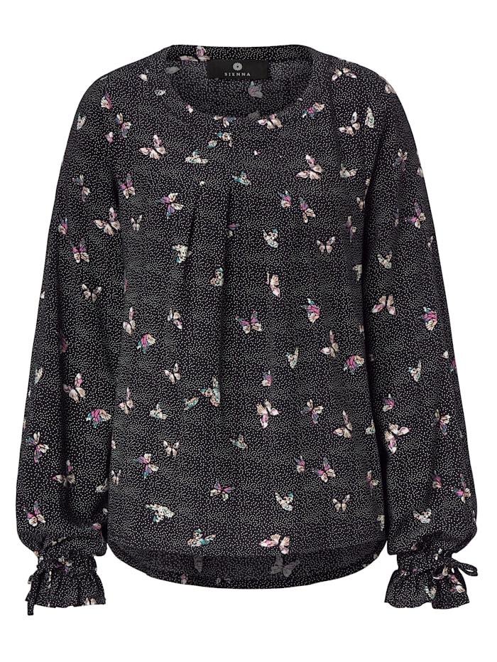 SIENNA Bluse Mit Schmetterlingsdruck, Schwarz