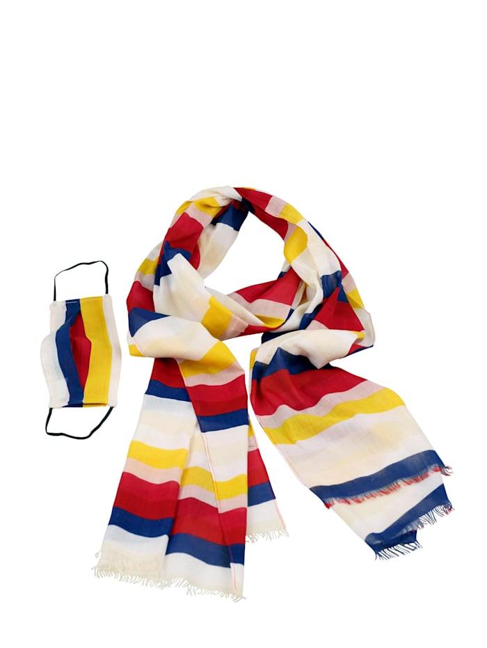 Collezione Alessandro Schal Rainbow mit passender Mund-Nasen-Bedeckung, multi