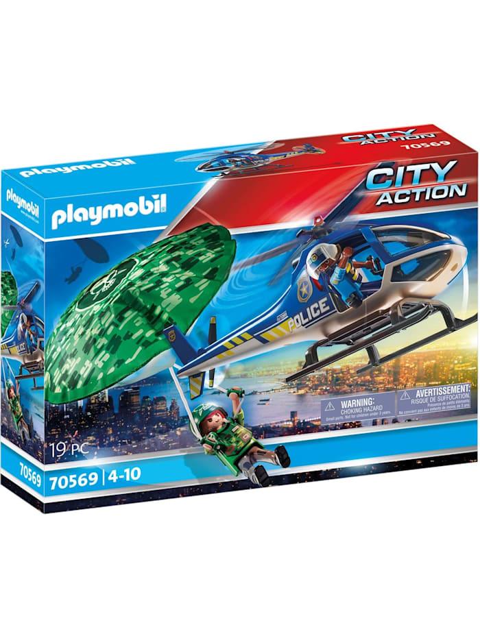PLAYMOBIL Konstruktionsspielzeug Polizei-Hubschrauber: Fallschirm-Verfolgung, Bunt