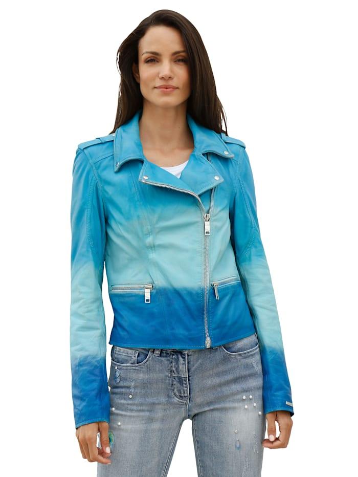 Maze Leren jasje met kleurverloop, Blauw/Turquoise