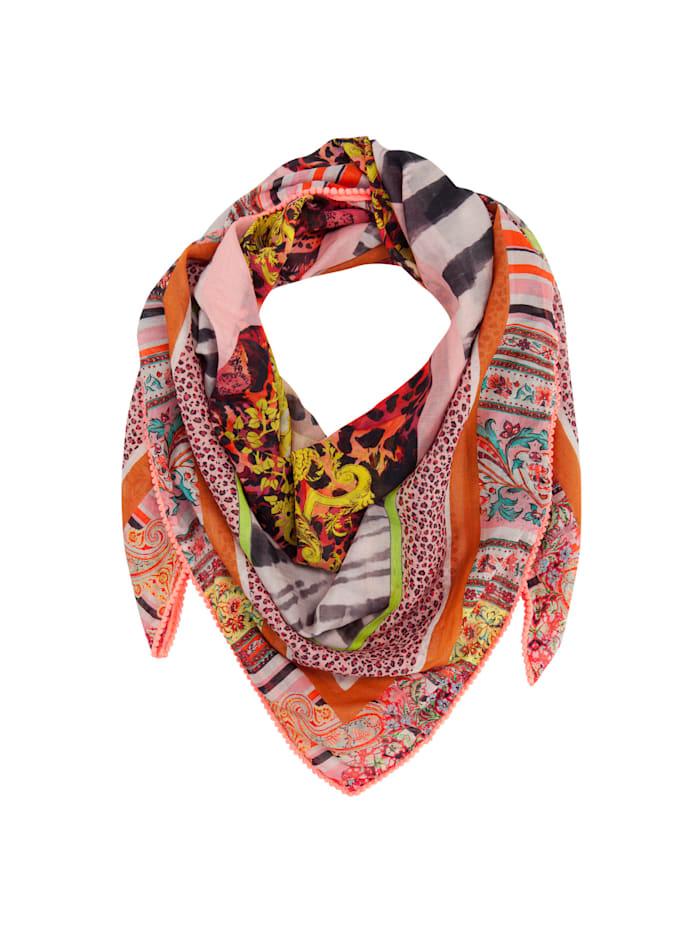 XL-Tuch mit Exotik-Print aus Baumwolle und Modal mit Seide