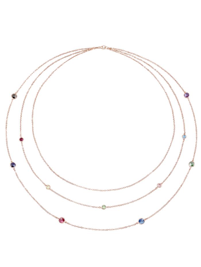 AMY VERMONT 3rhg. Collier mit Swarovski-Kristallen, Silberfarben