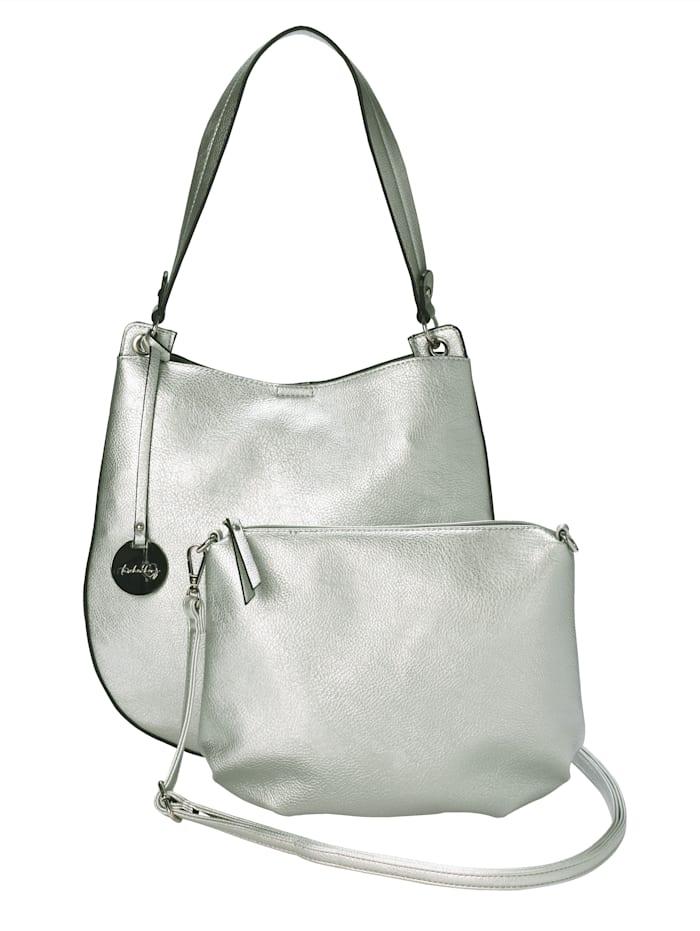 Taschenherz Shopper 2-tlg. mit abnehmbaren Taschenherz-Anhänger 2-teilig, Silberfarben