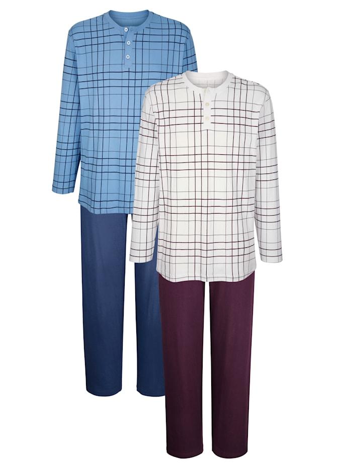 Pyjamas, Bleu/Aubergine