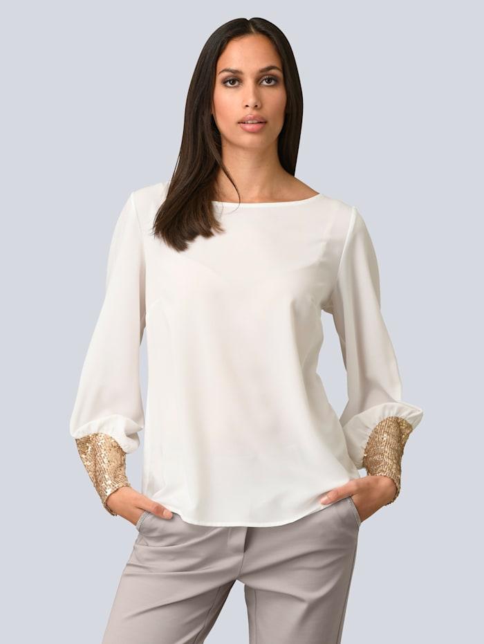 Alba Moda Bluse mit Pailletten, Off-white