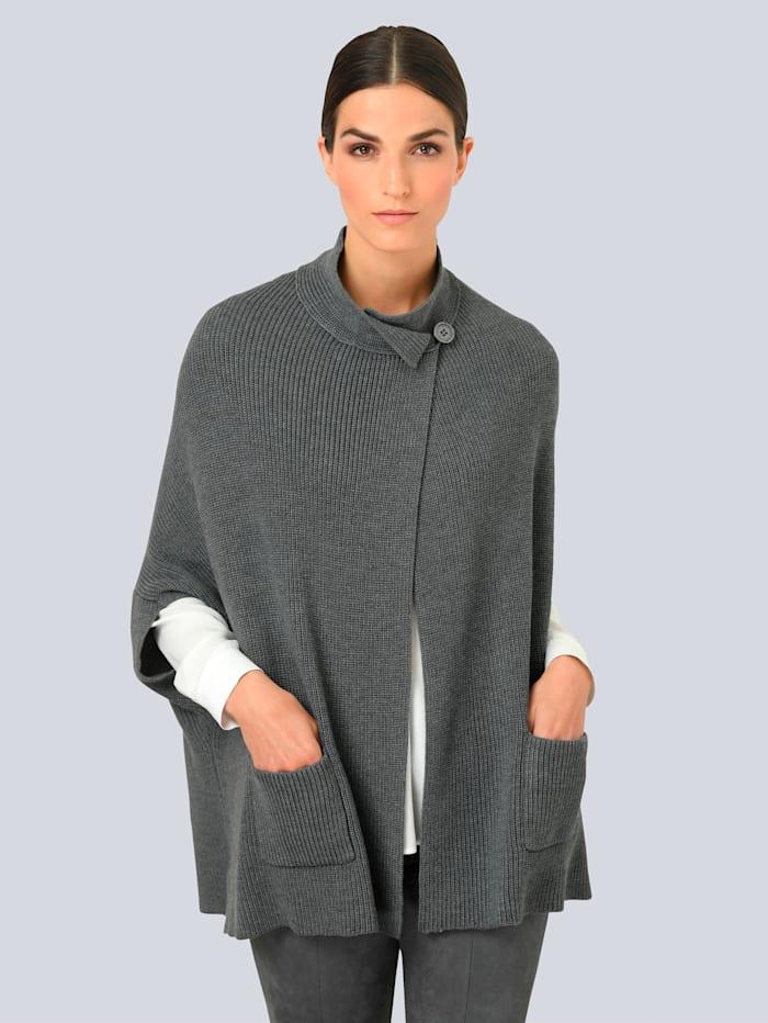 Alba Moda Strikkejakke i cape-modell, Grå