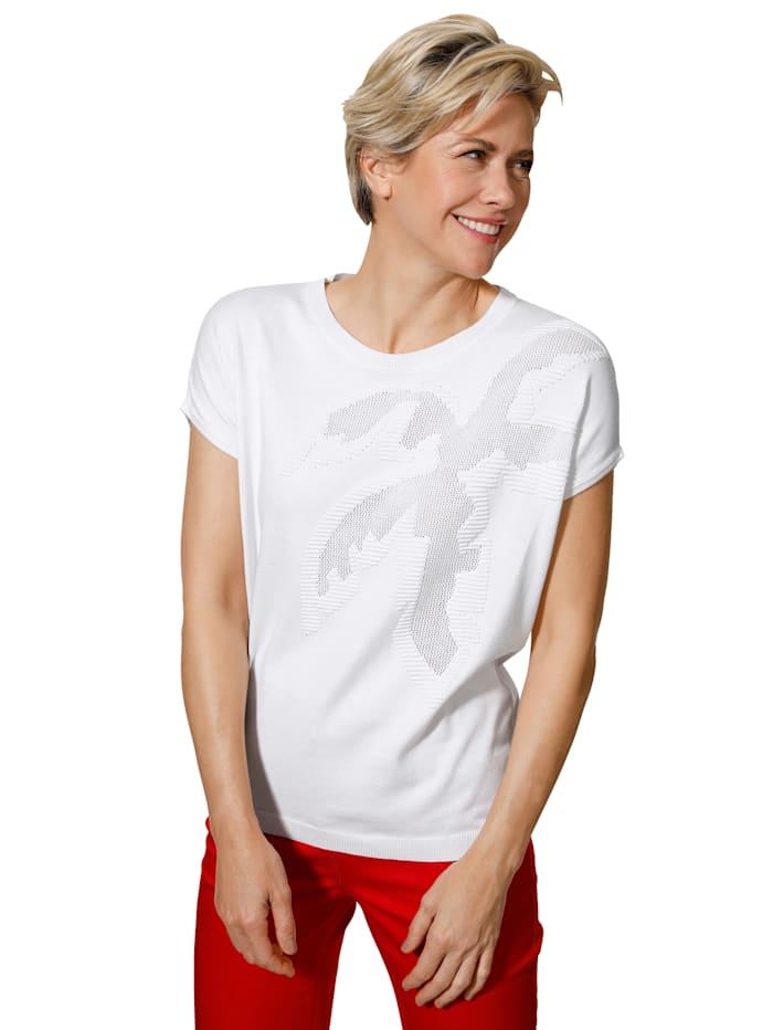 MONA Pullover mit effektvollem Ajourmuster, Weiß