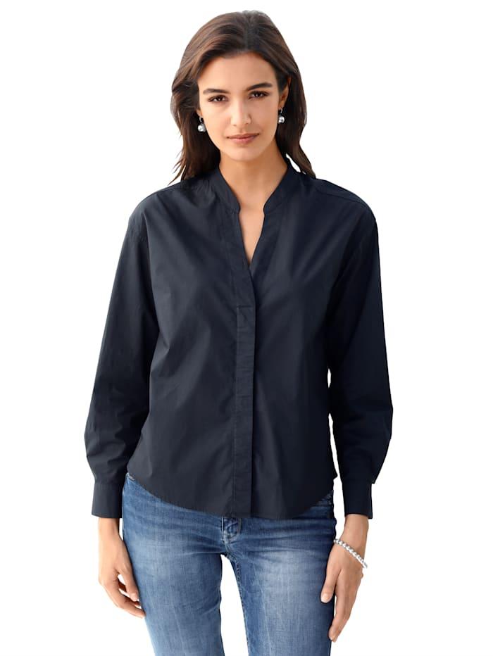 Lieblingsstück Bluse mit tiefem V-Ausschnitt, Marineblau