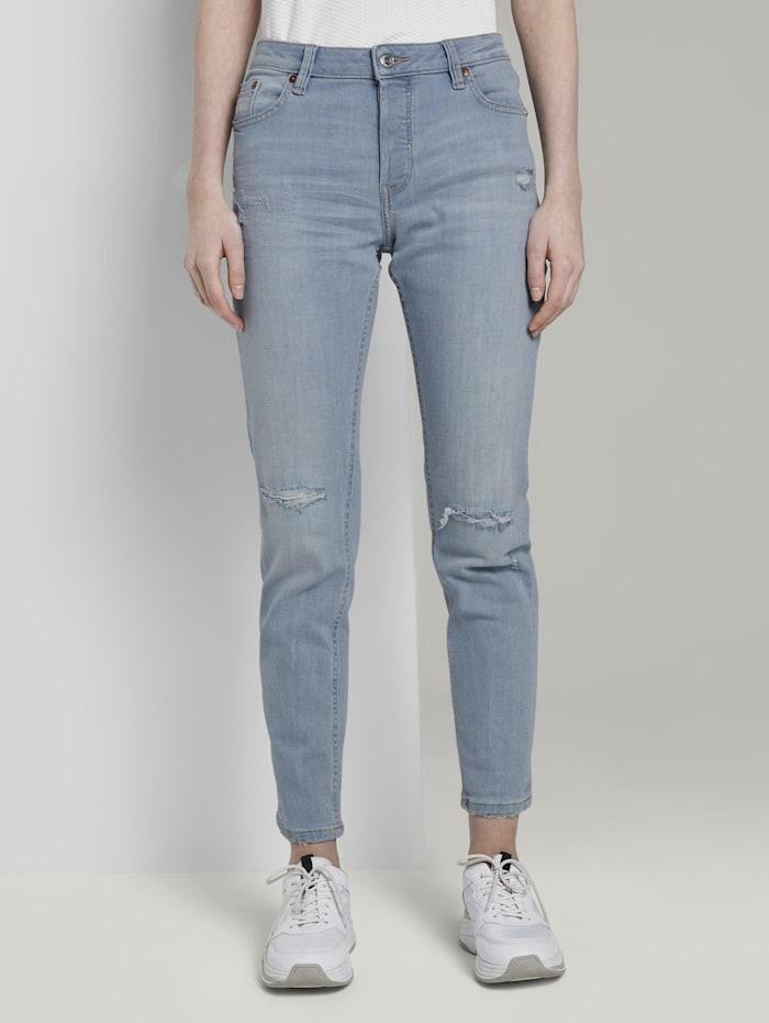 Tom Tailor Denim Liva Boyfriend-Jeans mit Rissen, Destroyed Light Stone Blue Den