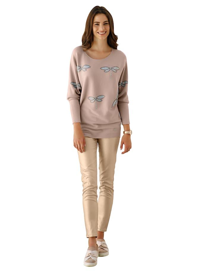 Pullover mit Strasssteindekoration im Vorderteil