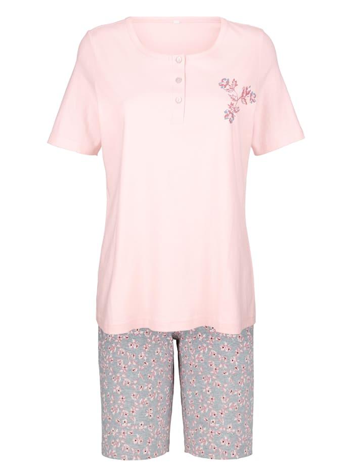 Blue Moon Pyjamas med blomtryck fram, Rosa/Grå
