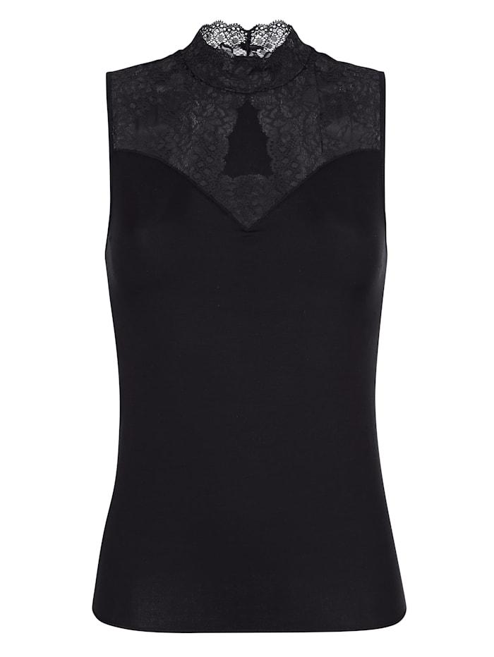 Blazershirt mit Stehkragen und Tropfenausschnitt aus Spitze, Schwarz