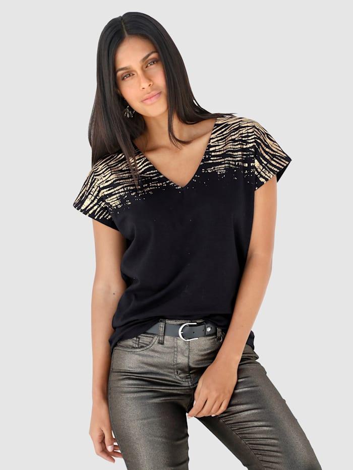 AMY VERMONT Shirt mit Druck, Schwarz/Kupferfarben
