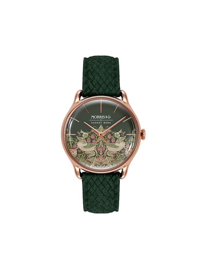 August Berg Uhr MORRIS & CO Rose Gold Green Perlon 30mm, fennel