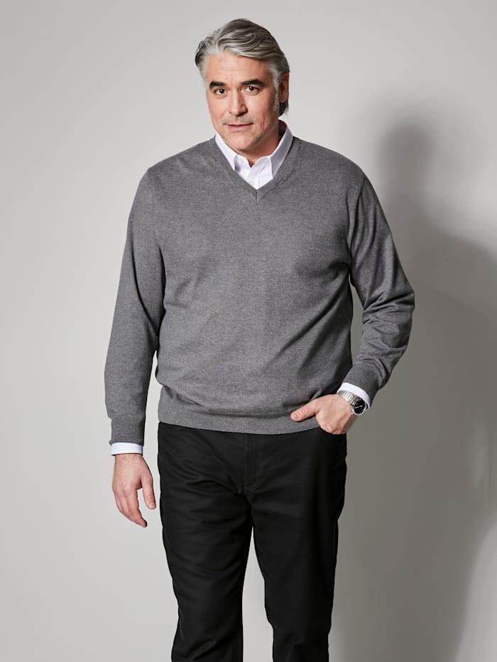 Men Plus V-Pullover aus pflegeleichter Baumwoll-Mischung, Grau