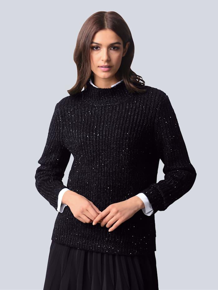 Alba Moda Pullover mit eingestrickten Pailletten, Schwarz/Silberfarben