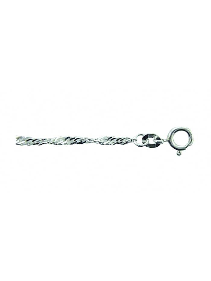 1001 Diamonds Damen Silberschmuck 925 Silber Singapur Halskette 50 cm Ø 2,4 mm, silber