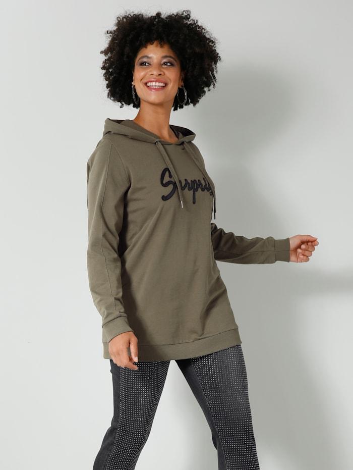 Angel of Style Sweatshirt mit Lederimitat-Schriftzug, Khaki/Schwarz