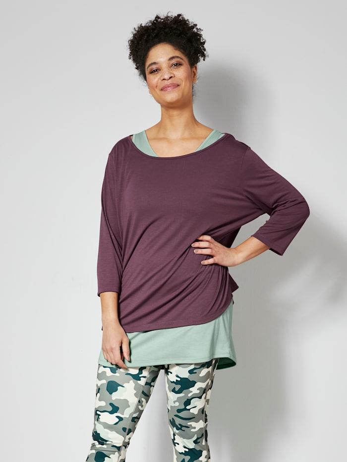 Janet & Joyce Shirt en topje in sportieve stijl, Jadegroen/Mauve