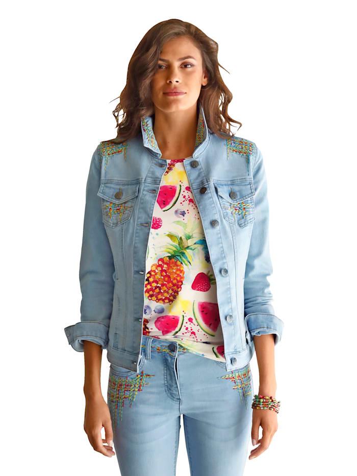 Jeansjacke mit Stickerei