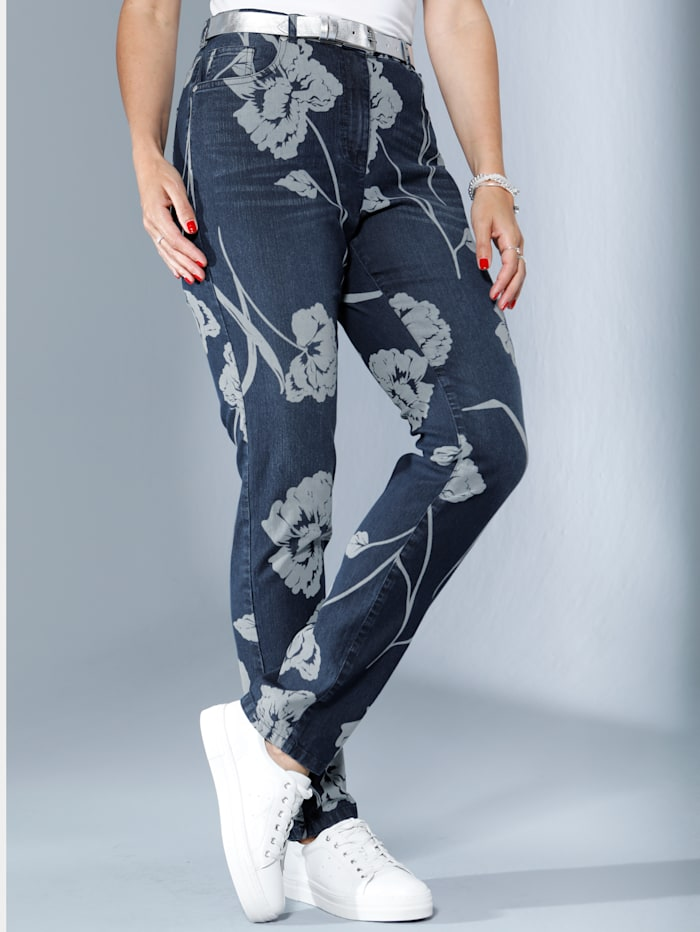 MIAMODA Jeans mit kontrasfarbenem Blumendruck, Blue stone