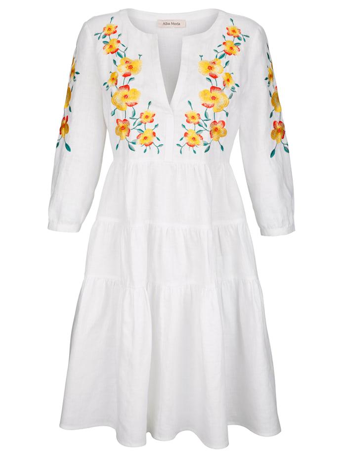 Alba Moda Strandkleid mit aufwendiger Blütenstickerei, Weiß
