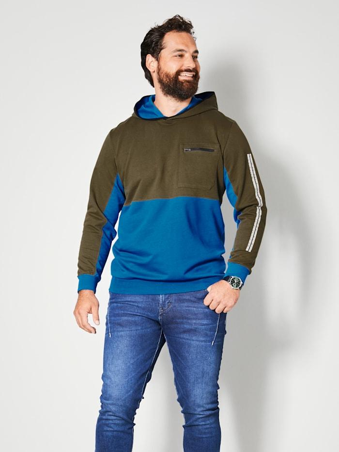 Men Plus Sweatshirt aus reiner Baumwolle, Oliv/Blau
