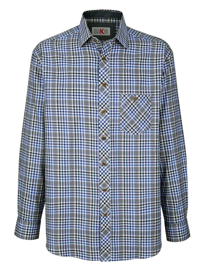 Roger Kent Skjorta med påsydd bröstficka, Blå
