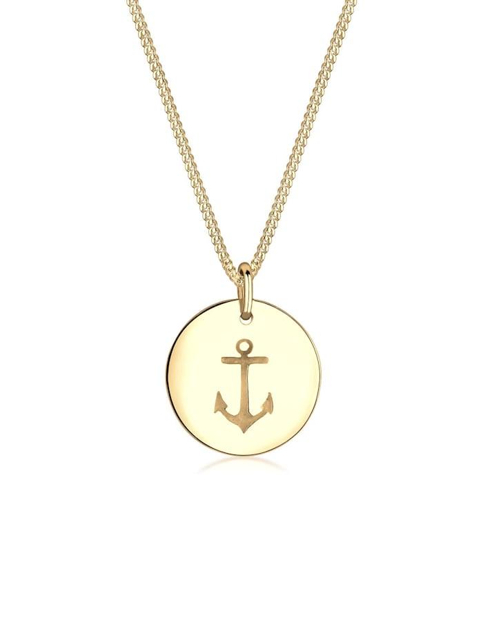 Elli Halskette Anker Münze Maritim 925 Sterling Silber, Gold