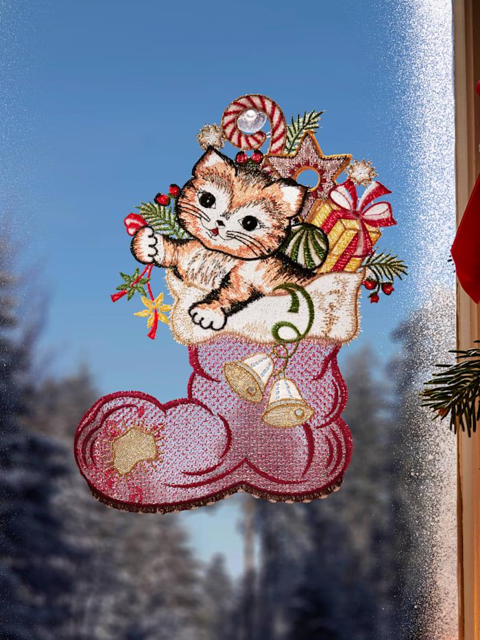 Stickereien & Textilien Raamdecoratie Sok met kat, multicolor