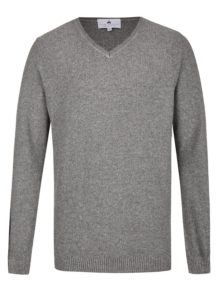 Hajo Pullover mit V-Ausschnitt, graumelange