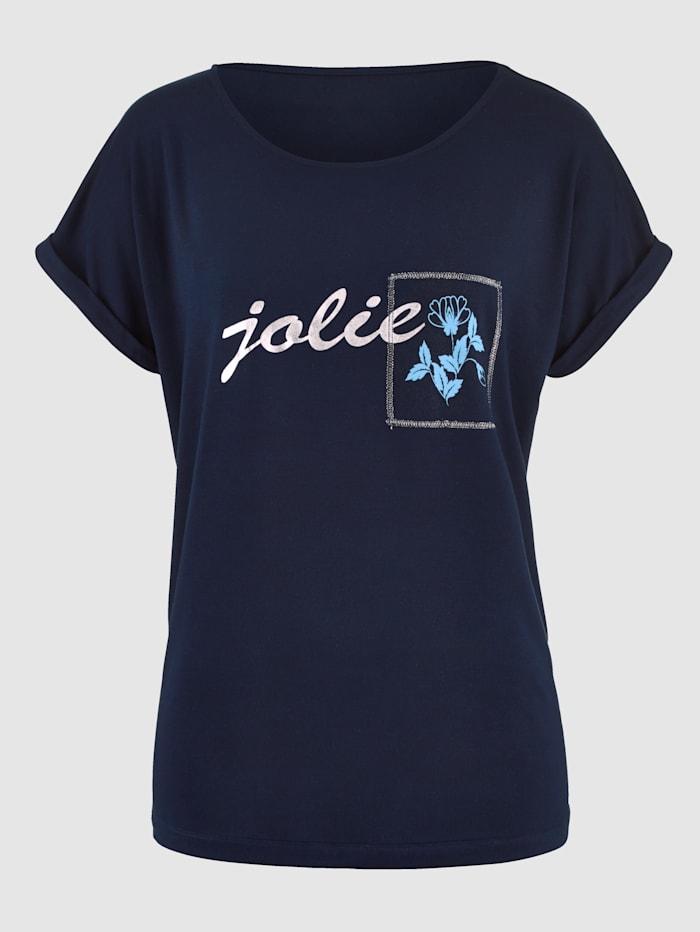 Shirt mit Glanzgarn-Stickerei