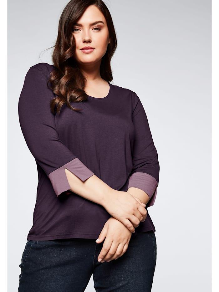 Sheego Jerseyshirt in leichter A-Linie, pflaume