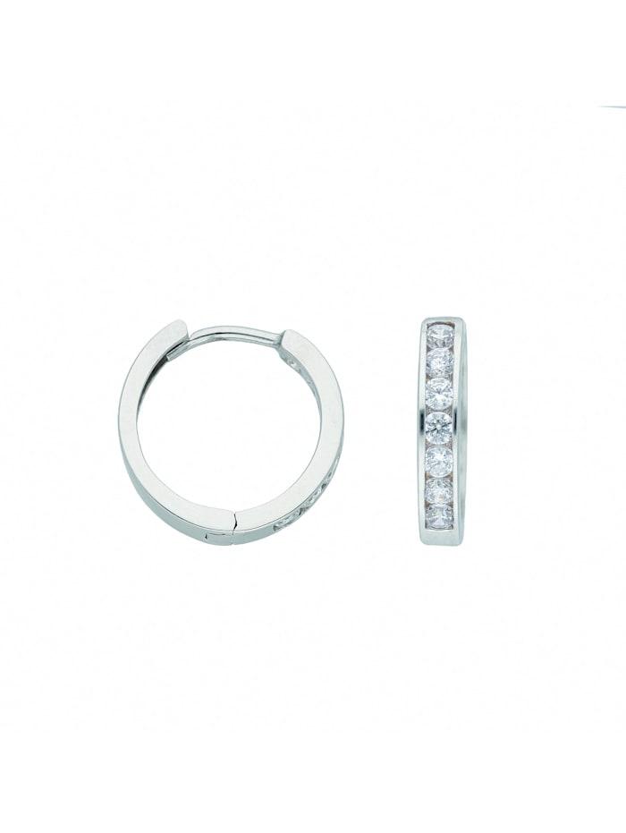 1001 Diamonds Damen Goldschmuck 585 Weißgold Ohrringe / Creolen mit Zirkonia Ø 13,6 mm, silber