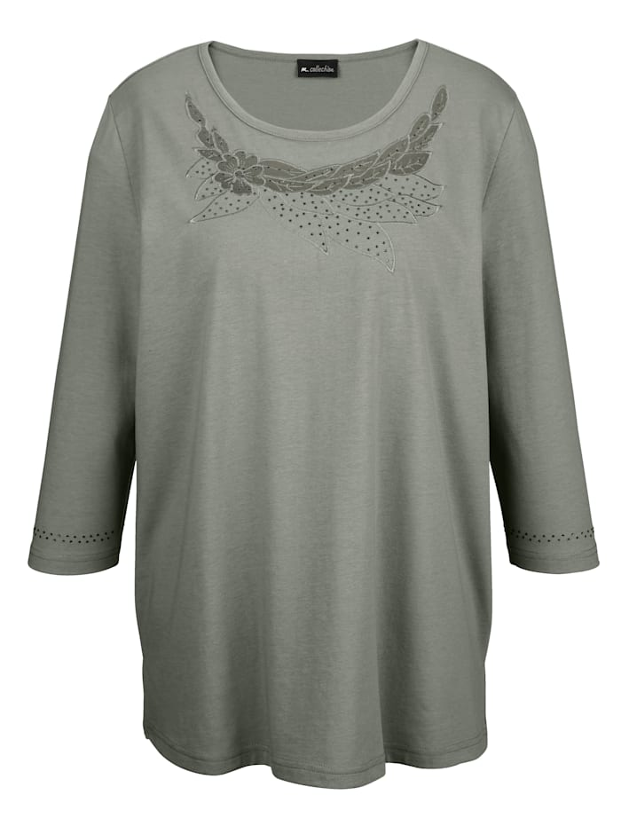 m. collection Shirt met transparante netinzet aan de hals, Kaki