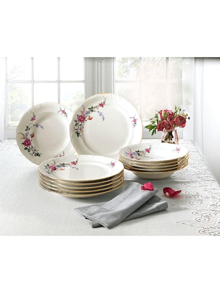 Kristoff Service de table 12 p., blanc/multicolore