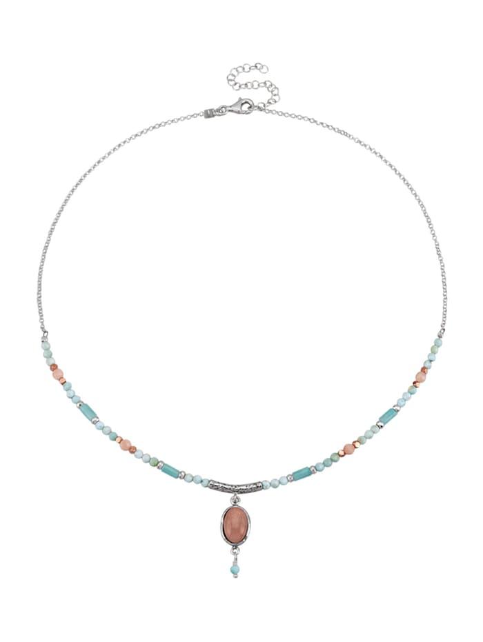 Roman Glass Collier aus Farbsteinen, Silberfarben