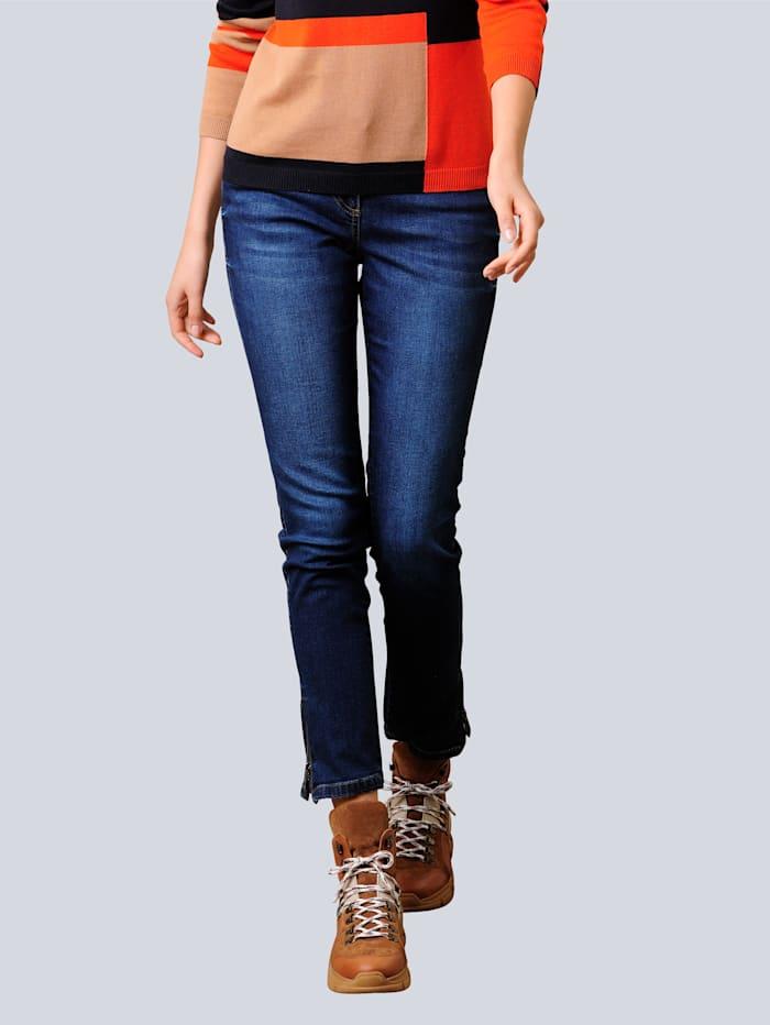 Alba Moda Jeans met strassteentjes op de achterzakken, Dark blue