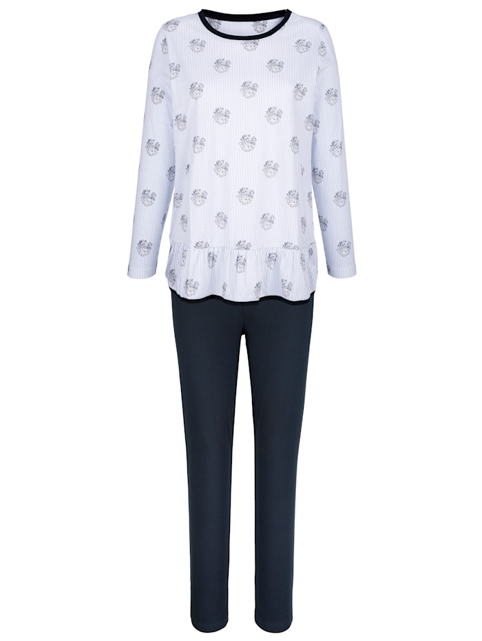 Blue Moon Pyjamas med söta volangkanter, Blå/Marinblå/Benvit