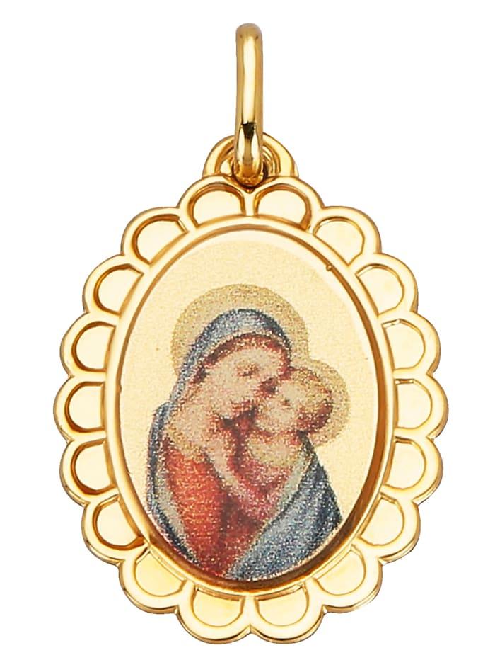 Pendentif Vierge à l'Enfant, Jaune