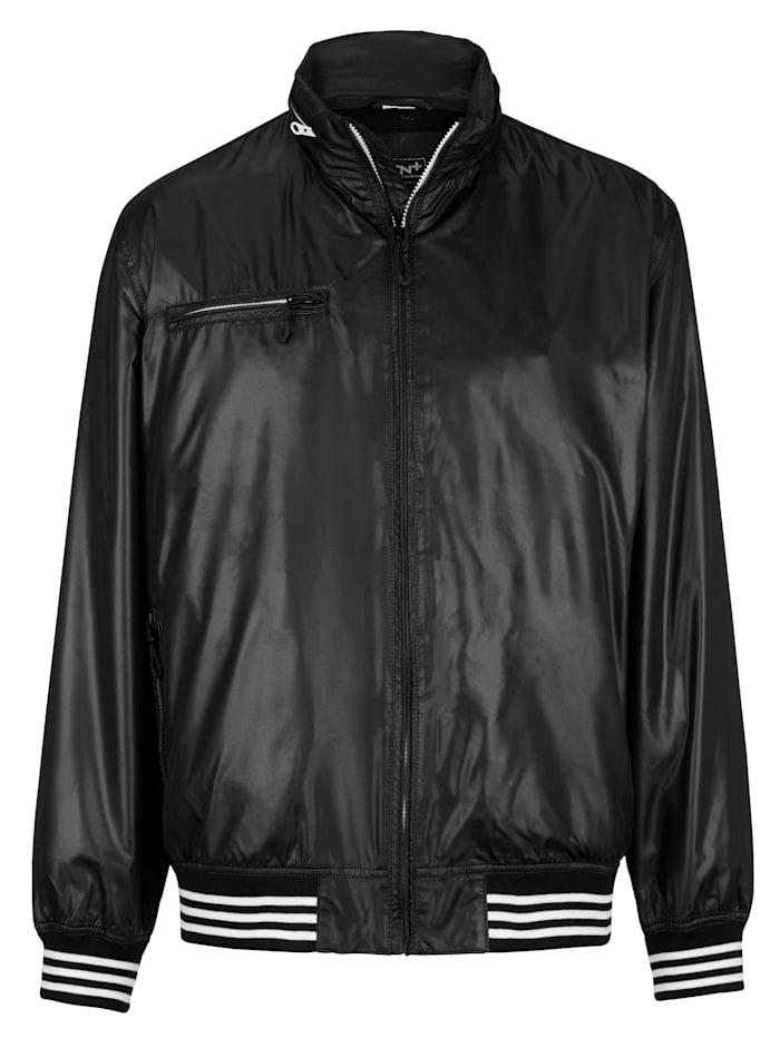Men Plus Jacke mit verstaubarer Kapuze, Black