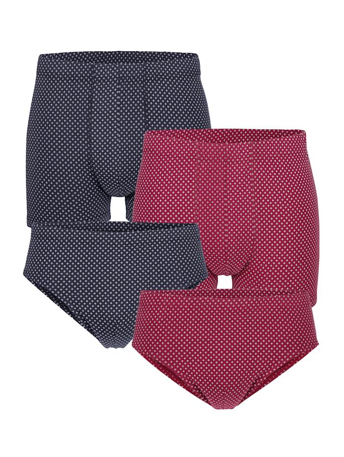 Pantys und Sportslips im 4er-Pack, Marineblau/Rubinrot